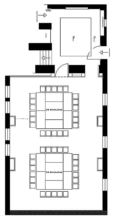 Konferenzbestuhlung – 2 x 22 Sitzplätze